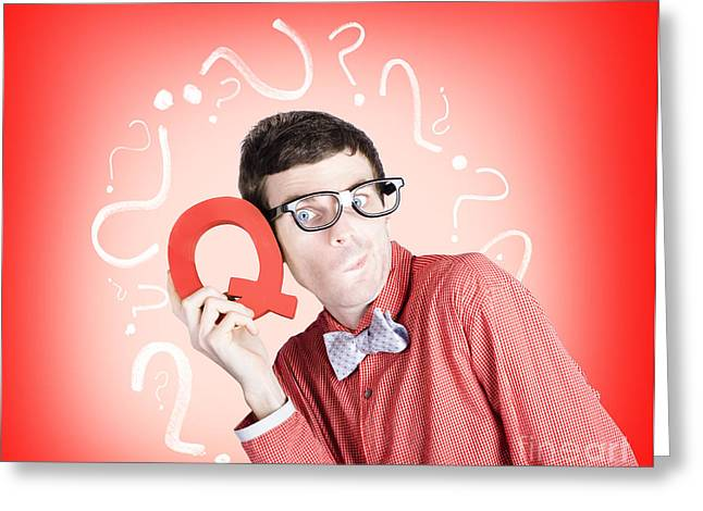 Question Mark Greeting Cards - Smart thinking men with q for question mark Greeting Card by Ryan Jorgensen