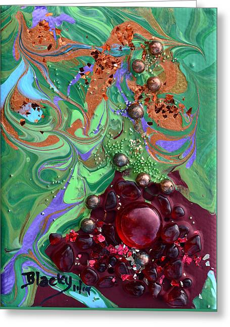Miniature Mixed Media Greeting Cards - Smashing A Pomegranate Greeting Card by Donna Blackhall