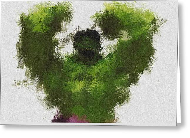 Character Portraits Greeting Cards - Smashing Green Greeting Card by Miranda Sether