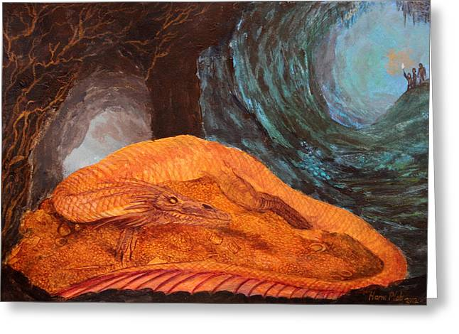 Lord Of The Rings Greeting Cards - Smaug the golden dragon Greeting Card by Harm  Plat