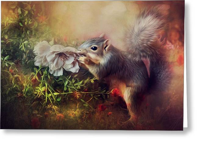 Fox Squirrel Mixed Media Greeting Cards - Smell The Flowers Greeting Card by Tammy  Gross