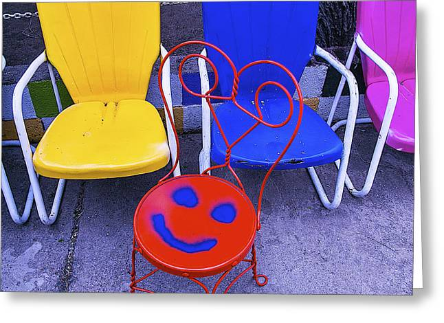 Smile Photographs Greeting Cards - Smile On Chair Seat Greeting Card by Garry Gay
