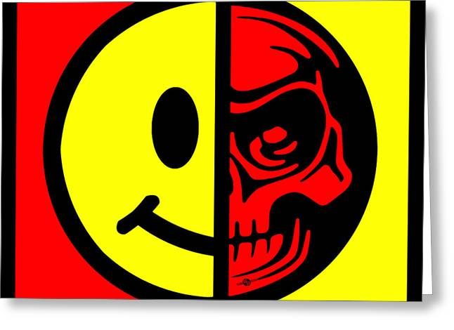 Tattoo Culture Greeting Cards - Smiley Face Skull Yellow Red Border Greeting Card by Tony Rubino