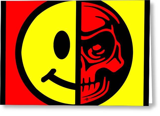 Face Tattoo Mixed Media Greeting Cards - Smiley Face Skull Yellow Red Border Greeting Card by Tony Rubino