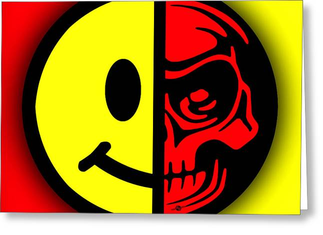 Face Tattoo Mixed Media Greeting Cards - Smiley Face Skull Yellow Red Shadow Greeting Card by Tony Rubino