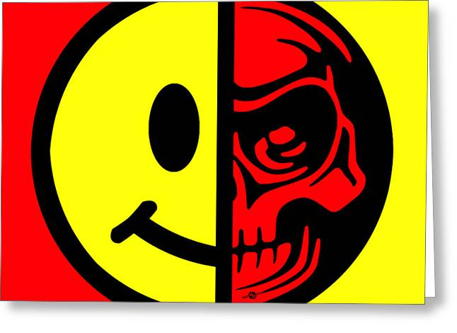 Face Tattoo Mixed Media Greeting Cards - Smiley Face Skull Yellow Red Greeting Card by Tony Rubino