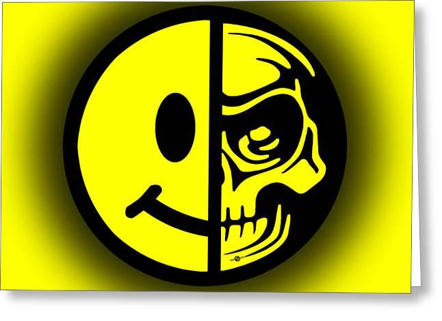 Face Tattoo Mixed Media Greeting Cards - Smiley Face Skull Yellow Shadow Greeting Card by Tony Rubino
