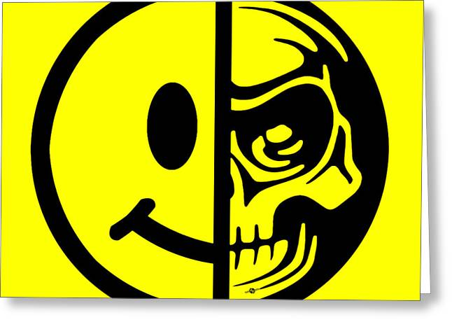 Face Tattoo Mixed Media Greeting Cards - Smiley Face Skull Yellow Greeting Card by Tony Rubino