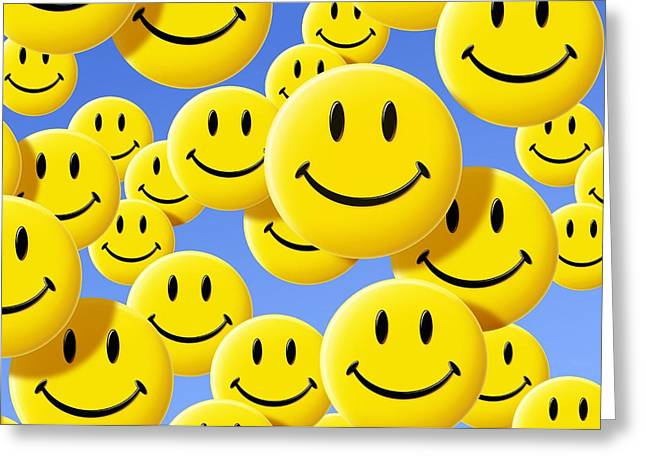 Many Faces Greeting Cards - Smiley Face Symbols Greeting Card by Detlev Van Ravenswaay