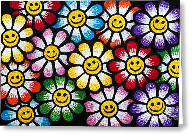 Smiley Flower Faces Greeting Card by Tim Gainey
