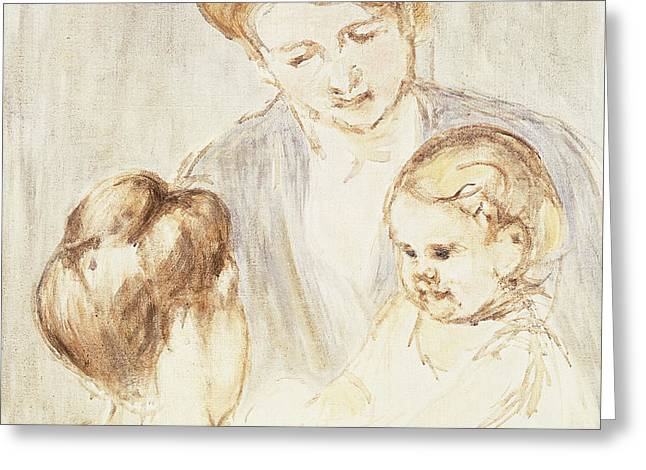 Smiling Baby With Two Girls Greeting Card by Mary Stevenson Cassatt
