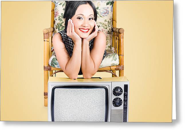 1950s Movies Greeting Cards - Smiling beautiful woman at rest on old television Greeting Card by Ryan Jorgensen