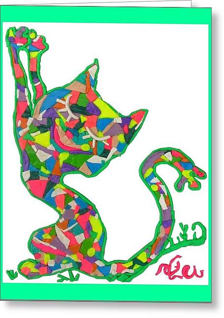 Mosaic Reliefs Greeting Cards - Smiling Cat in Erotic Mood Greeting Card by Natalia Levis-Fox