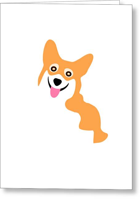 Dogs Digital Greeting Cards - Smiling Corgi Pup Greeting Card by Antique Images