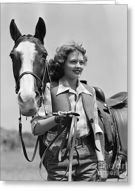 Smiling Cowgirl With Horse, C.1940s Greeting Card by H. Armstrong Roberts/ClassicStock