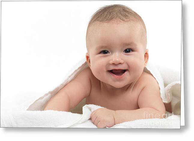 Smiling Four Month Old Baby Boy Greeting Card by Oleksiy Maksymenko