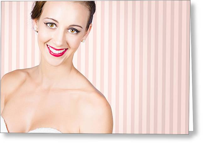 Smiling Girl With Model Hairstyle And Light Makeup Greeting Card by Jorgo Photography - Wall Art Gallery