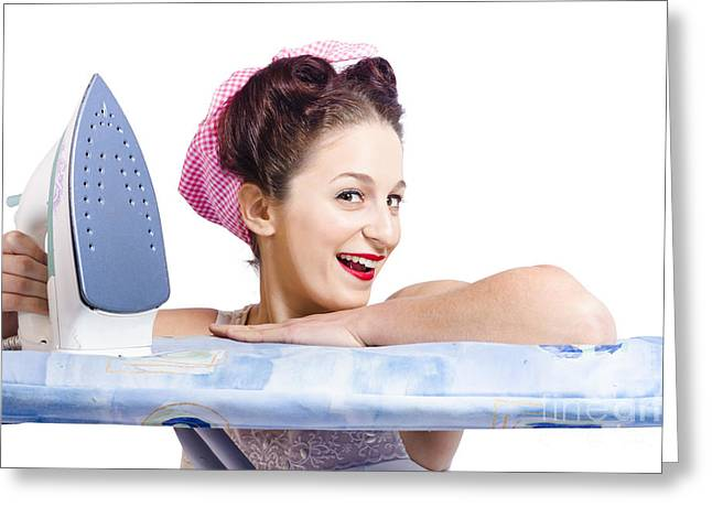 Housekeeper Greeting Cards - Smiling housewife doing housework laundry duties Greeting Card by Ryan Jorgensen