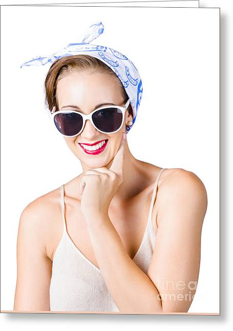 Smiling Pin-up Girl Greeting Card by Jorgo Photography - Wall Art Gallery