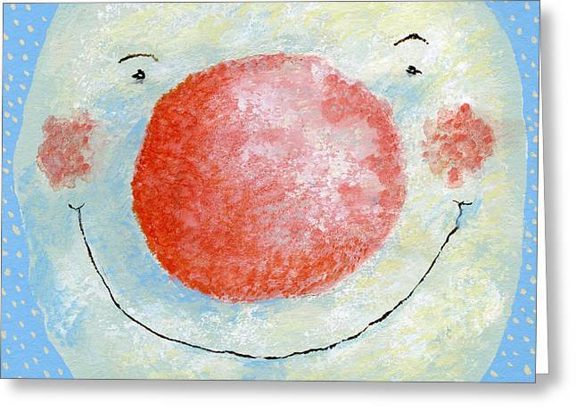 Smiling Snowman  Greeting Card by David Cooke