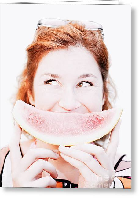 Watermelon Photographs Greeting Cards - Smiling Summer Snack Greeting Card by Ryan Jorgensen