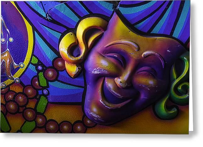 Theater Masks Greeting Cards - Smiling Theater Mask Greeting Card by Garry Gay
