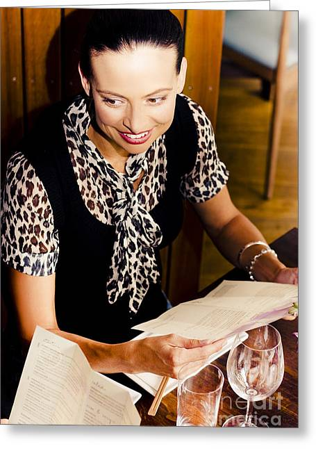 Positive Attitude Greeting Cards - Smiling Woman At Restaurant Greeting Card by Ryan Jorgensen