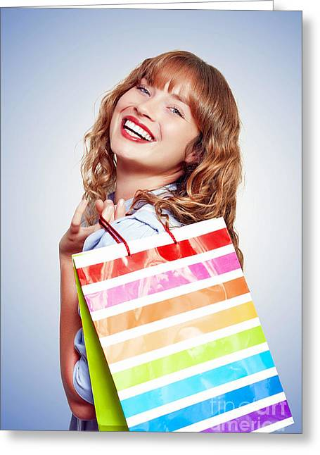 Shoulder Bag Greeting Cards - Smiling Woman With Shopping Bag Greeting Card by Ryan Jorgensen