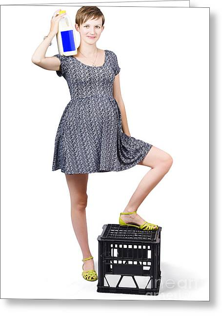 Youthful Photographs Greeting Cards - Smiling young expecting mother promoting milk Greeting Card by Ryan Jorgensen