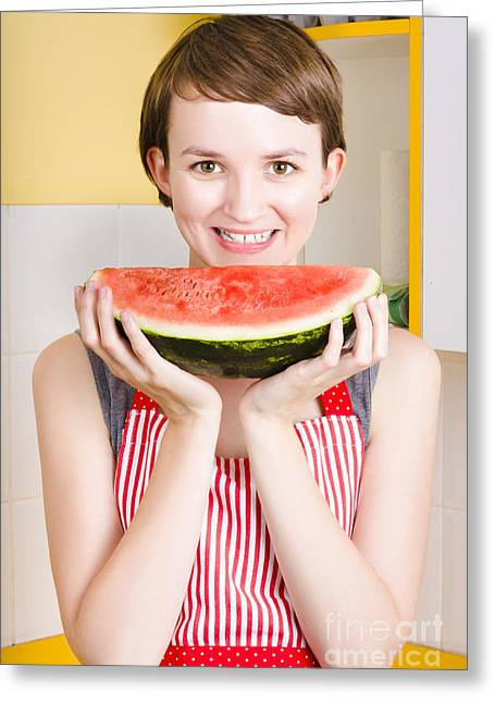 Apron Greeting Cards - Smiling young woman eating fresh fruit watermelon Greeting Card by Ryan Jorgensen