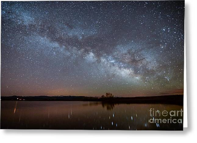 Snowy Night Greeting Cards - Smith Lake Milkyway Reflections Greeting Card by Benjamin Reed