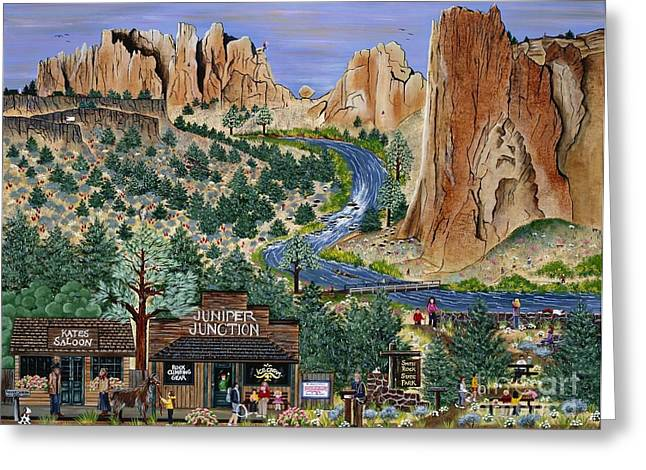 Rooster Cogburn Greeting Cards - Smith Rock State Park Greeting Card by Jennifer Lake