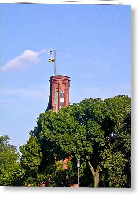 Smithsonian Greeting Cards - Smithsonian Castle Tower Fags Flying Greeting Card by Douglas Barnett