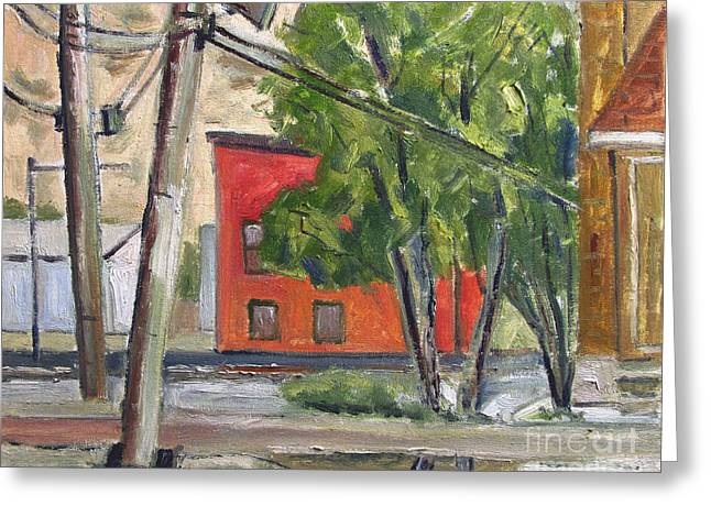 Smitty Mcmusselman's Pub And Grub Across The River Plein Air Framed Greeting Card by Charlie Spear