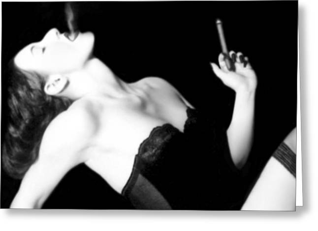Smoke and Seduction - Self Portrait Greeting Card by Jaeda DeWalt