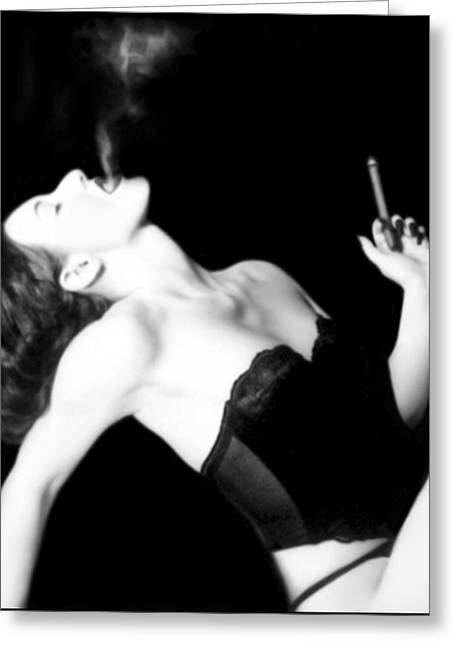 Smoking Greeting Cards - Smoke and Seduction - Self Portrait Greeting Card by Jaeda DeWalt