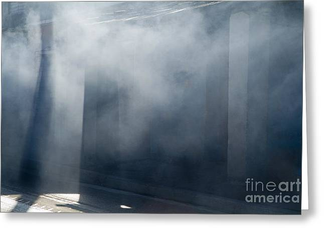 Smoke And Sunlight Mingle On A Street In Trinidad Greeting Card by Sami Sarkis