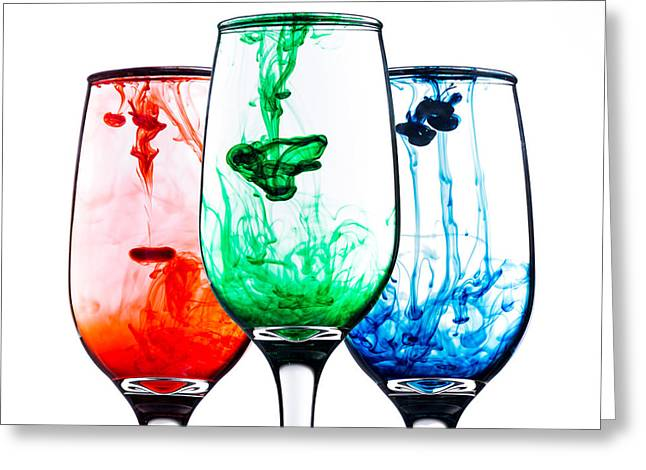 Wine-glass Greeting Cards - Smoke Glasses Trio Greeting Card by Matt Hammerstein