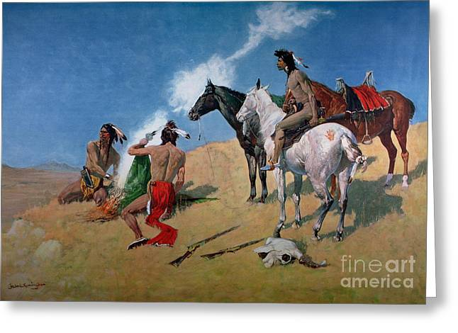 Cloth Greeting Cards - Smoke Signals Greeting Card by Frederic Remington