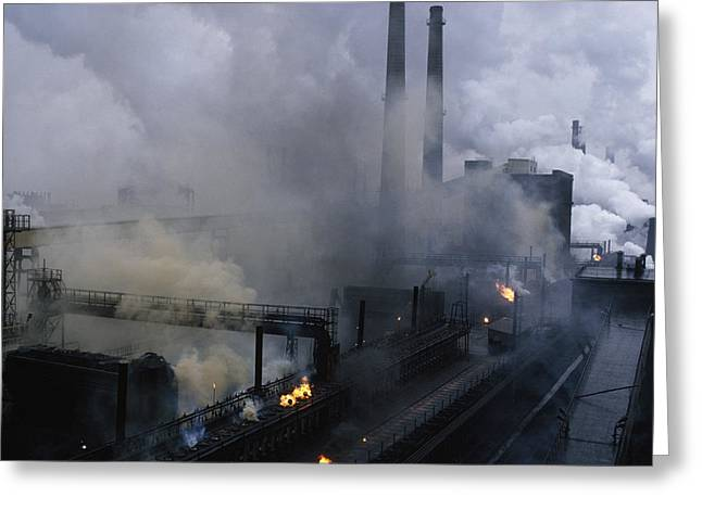 Smokestack Greeting Cards - Smoke Spews From The Coke-production Greeting Card by James L. Stanfield