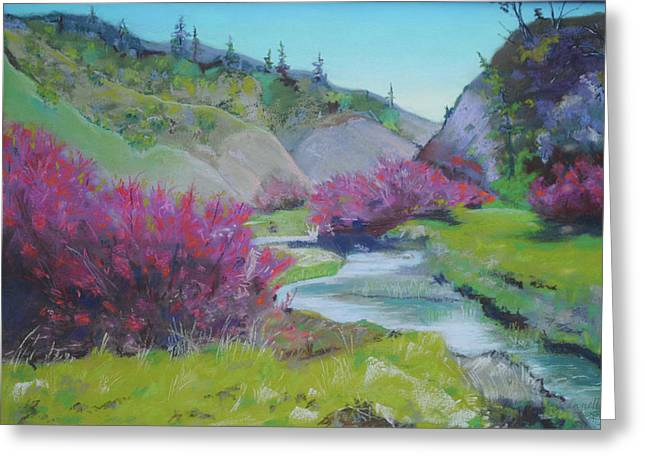 Smoke Trees By The Creek Greeting Card by Dan Scannell