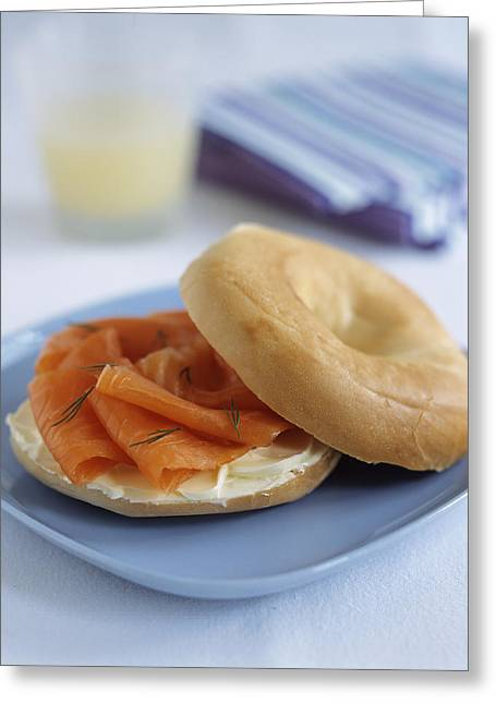Salmon Photographs Greeting Cards - Smoked Salmon Bagel Greeting Card by Veronique Leplat