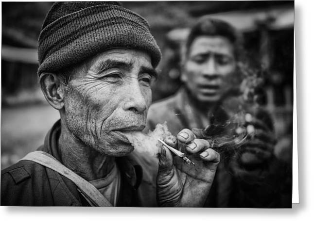 Cigarette Greeting Cards - Smokers Greeting Card by Franz Sussbauer