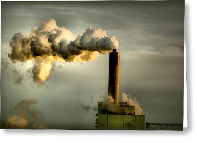 Power Plants Greeting Cards - Smokestack in Contrast Greeting Card by Larry Jost