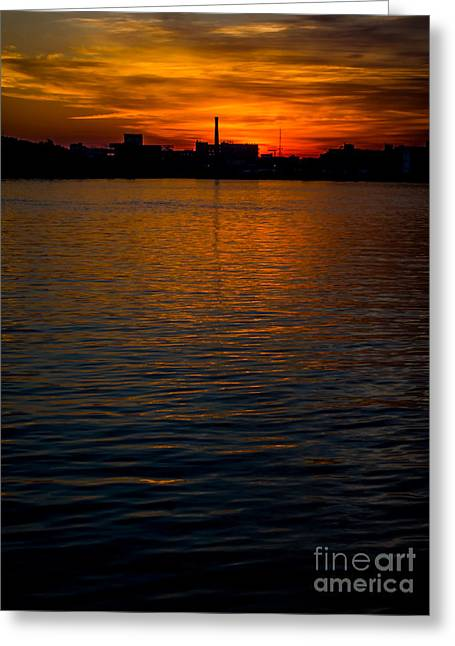Grey Clouds Greeting Cards - Smokestack on the Water Greeting Card by James Aiken
