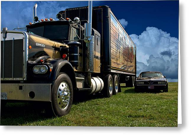 Teemack Greeting Cards - Smokey and the Bandit Tribute 1973 Kenworth W900 Black and Gold Semi Truck and The Bandit TransAm Greeting Card by Tim McCullough