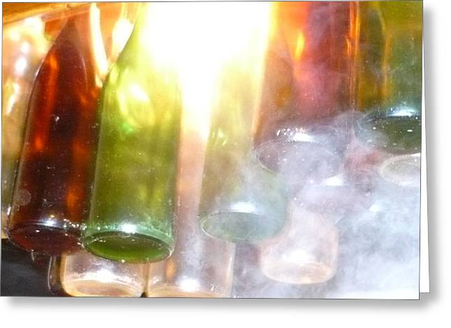 Glass Bottle Greeting Cards - Smokey Bottles Greeting Card by Chris Andruskiewicz