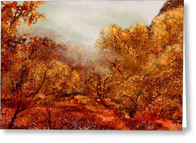 Fall Trees Greeting Cards - Smokey Mountain Mist Greeting Card by Hans Neuhart