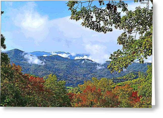 Recently Sold -  - Smokey Mountain Drive Greeting Cards - Smokey Mountain Mountain Landscape - A Greeting Card by James Fowler