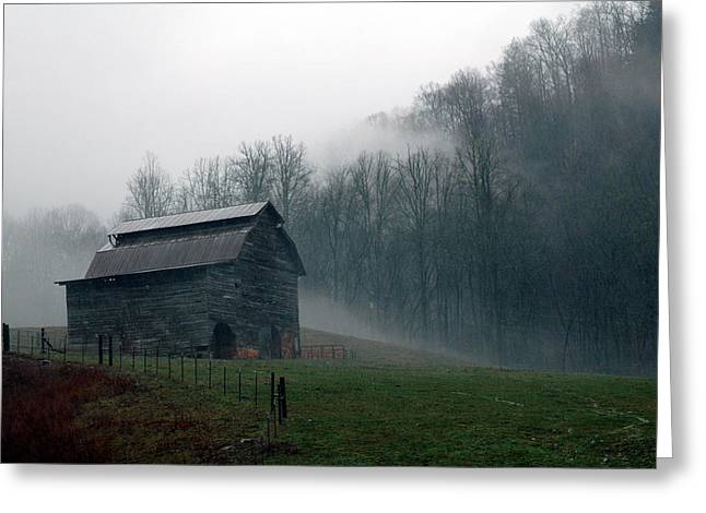 Old Barns Greeting Cards - Smokey Mountains Barn Greeting Card by Kathy Schumann
